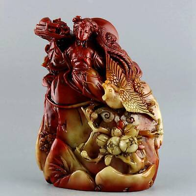 Collect Old Shoushan Stone Hand-Carved Fairy & Phenix Moral Bring Luck Statue