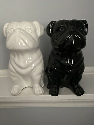 Sitting Pug Dogs Ceramic Figurines 10 inch High collectible