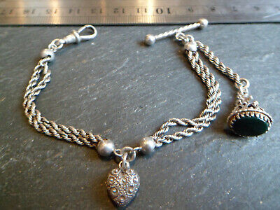 Victorian Solid Silver Albertina / Albert Pocket Watch Chain with Love Heart Fob