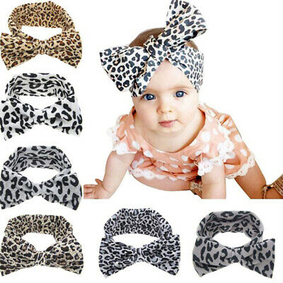 Baby Kids Toddler Bowknot  Hairband Headband Stretch Leopard Knot Head Wrap Band
