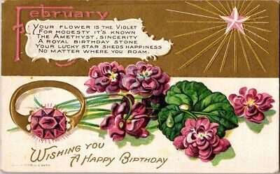 Vintage Postcard Postmarked 1910 Wishing You A Happy Birthday By E.nash