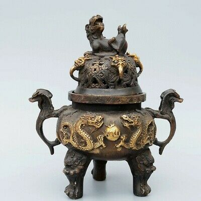 Collectable China Old Red Copper & Gilding Hand-Carved Myth Dragon Luck Censer