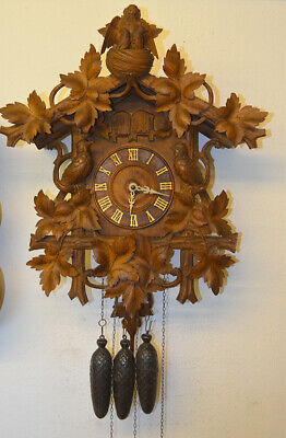 very nice big cuckoo clock with quail about 1880
