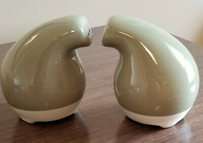 Vintage Green and White, Ceramic, Mid Century Salt & Pepper Shakers