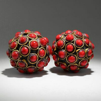 Collectable China Old Bronze Armour Agate Hand-Carve A Pair Delicate Ball Statue