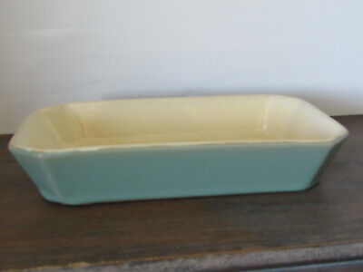vintage denby manor green  serving dish angled corners.
