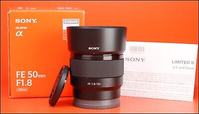 Sony FE 50mm F1.8 E Full Frame AF Prime Lens + Boxed Front/Rear Lens Caps & Hood