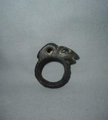 Antique Far East TOP HIGH AGED ANCIENT STONE RAM IBEX HEAD AMULET PENDANT RING