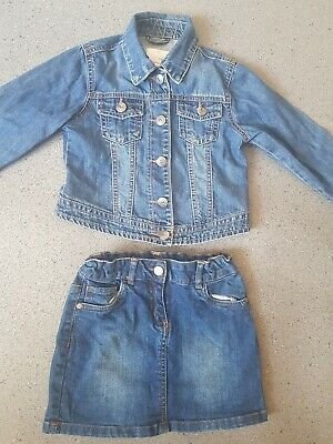 Girls Cropped Denim Jacket From NEXT age 7-8 Years And Denim Skirt