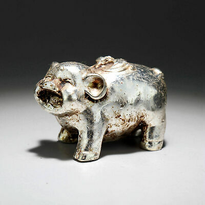 Collectable China Old Miao Silver Hand-Carved Lovely Pig Delicate Decor Statue