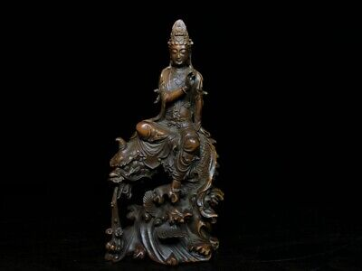 Collectable Ancient Boxwood Carving Guanyin Sitting Lion Auspicious Noble Statue