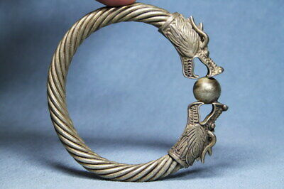 Decorative Handwork Miao Silver Carved Two Dragons Play Pearl Elegant Bracelet