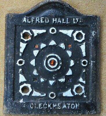 coal hole cover ALFRED HALL CLECKHEATON ornate Victorian coal plate yorkshire