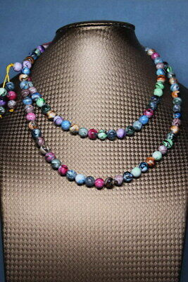 Collectable Handwork Agate Polishing Color Beads Auspicious Beautiful Necklace