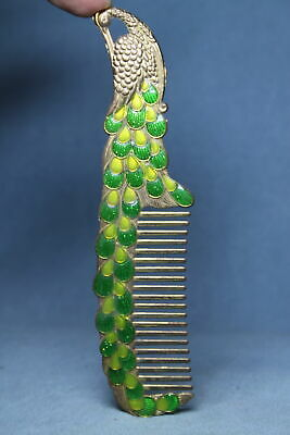 Collectable Exquisit Miao Silver Carved Green Feathers Auspicious Beautiful Comb