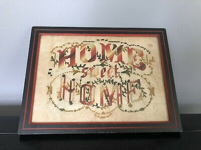 """Antique Victorian Paper Punch Embroidery Wood Frame """"Home Sweet Home"""" Sampler"""