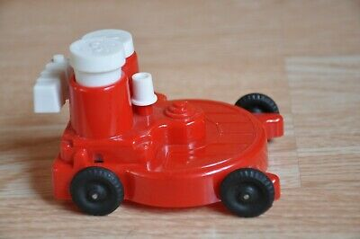 Vintage Red And White Plastic Mower Salt Pepper Shakers