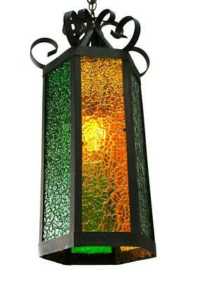 """Vintage Scrolled Wrought Iron 12"""" x 22"""" Green/Amber Stained Glass Indoor Lantern"""