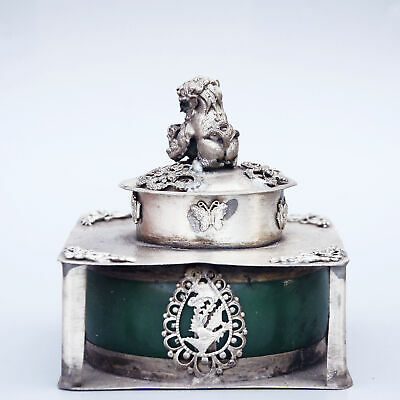 Collect China Old Miao Silver Armour Agate Hand-Carved Myth Dragon Luck Censer