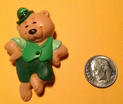1986 Hallmark St. Patrick's Day Pin, Dancing Bear with Hat, 4 Leaf Clover, Lucky