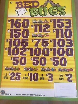 """""""Bed Bugs"""" Pull Tabs 3 Window 2412 Tickets Free Shipping USA 48"""