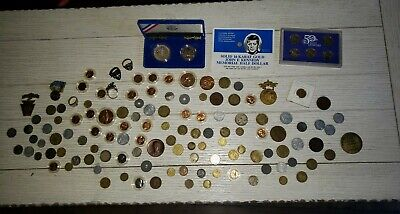 Random Junk Drawer US and FOREIGN COINS, medallions WW2 Silver Unsearched