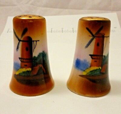 Vintage Hand Painted Windmill Salt and Pepper Shakers Japan Luster ware