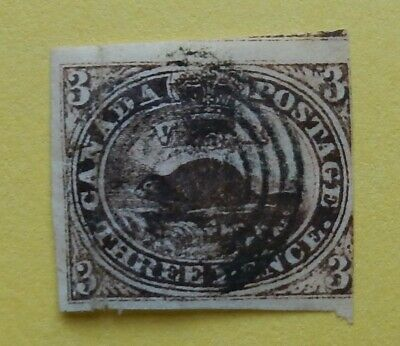 Canada #1  used 3 penny beaver 1851 laid paper  red