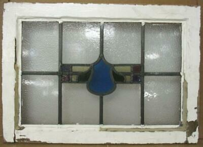"""OLD ENGLISH LEADED STAINED GLASS WINDOW Abstract Design 21.75"""" x 15.5"""""""