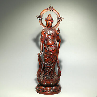 Collect Old Boxwood Hand-Carved Buddhism Kwan-Yin Bodhisattva Exorcism Statue