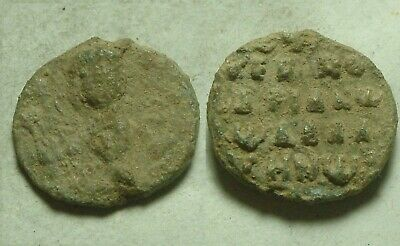 Rare Ancient Byzantine Lead seal artifact intact Christ Cross Saint inscribed