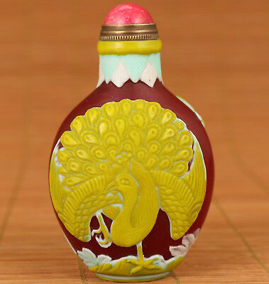 20th Antique Coloured Glaze Handmade Carved Peacock Statue old Snuff Bottle