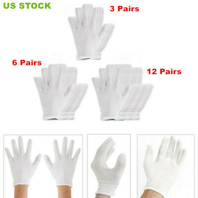 US 12 Pairs of 18.5cm White Thin and Reusable Elastic Soft Cotton Gloves Unisex