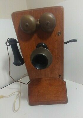 Antique Hand Crank Wall Telephone Phone Wood Case Modified into Radio