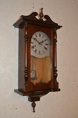 A Good Working Mahogany Cased Chime Strike Wall Clock   * Re Oiled *