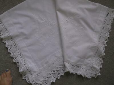 Vintage Tablecloth~ Linen white Emb & Crochet
