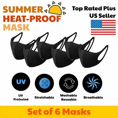 3D Unisex Black Face Mask Cover Washable Reusable Breathable USA 6 PCS