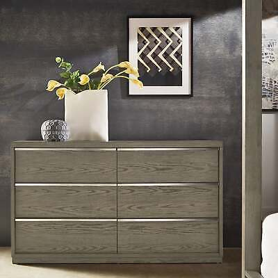 Copper Grove Kelcyre Antique Grey Oak Veneer Dresser Oak 6-drawer