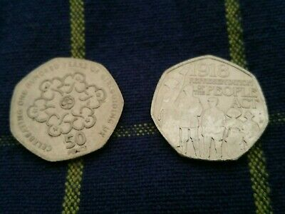 2 Unusual 50p Coins~Celebrate 100yr Girl Guide~1918 Representation of People Act