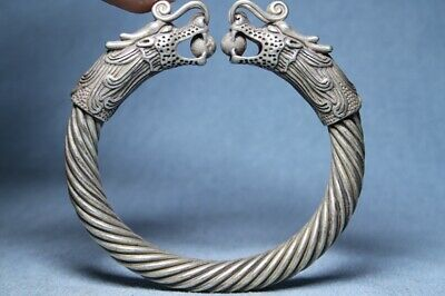 Collectable Rare Miao Silver Carving Two Dragons Gnawed Bead Auspicious Bracelet