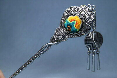 Decorative Exquisite Handwork Miao Silver Carved Flowers Totem Lucky Hair Clasp