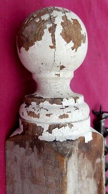 "Vintage Shabby White Wooden Fence or Gate Post with Finial 36"" x 3 1/2"" x 3 1/2"""