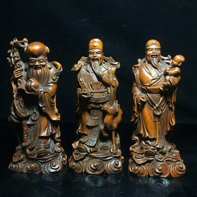 Handwork China Collection Boxwood Carved Three Stars Happiness Auspicious Statue