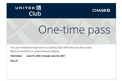 ONE UNITED Airlines Lounge Club One-Time Pass All Access Airport Expires 06/2021