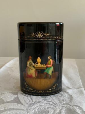 Vintage 1990 Signed Russian Lacquer Box Fedoskino Pegockuno MOP Courting Couple
