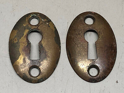 Vintage Old Antique Pair Of Escutcheons Keyhole Key Hole Covers - Solid Brass