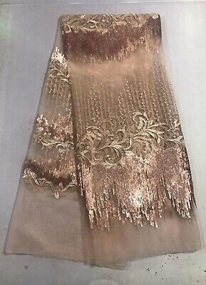 """Rose Pink Sequins embroidery Lace Fabric 50"""" Width Sold By The Yard"""