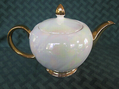 Pearl Iridescent Gold Trim Heatmaster Teapot - made in England