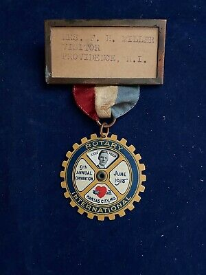 """RARE - WWI -1918 - 9th Annual Rotary Convention- """"WIN THE WAR"""" -CONVENTION BADGE"""