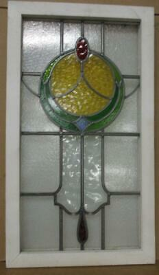 """LARGE OLD ENGLISH LEADED STAINED GLASS WINDOW Pretty Circle Design 18"""" x 32"""""""